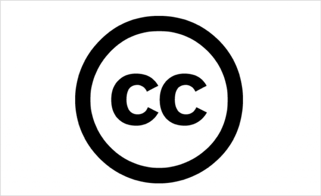 The Creative Commons symbol - featuring two c's in a circle