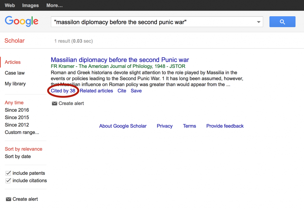 "A Google Scholar search for ""Massillion Diplomacy before the Second Punic War"" shows over 30 other publications have cited the work."