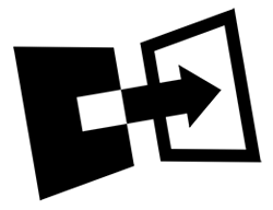 An arrow showing transformation from a black rectangle to a white rectangle.