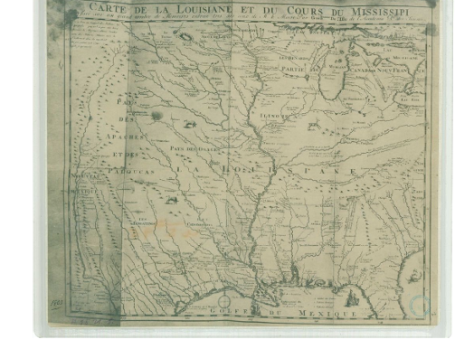 A map written in French shows the territory included in the Louisiana Purchase.