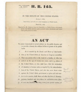 """A historic document titled """"H.R. 125"""". This photo is of the original Homestead Act of 1862."""