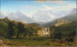 A painting of a beautiful landscape with towering, dramatic mountains in the background and a lush valley and waterfall in the foreground.