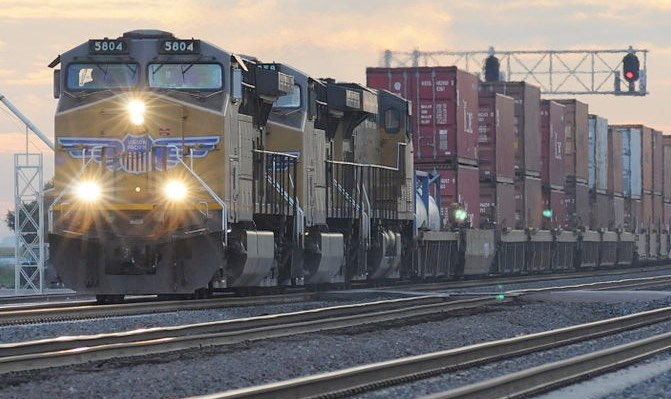 Freight Train Across Tracks