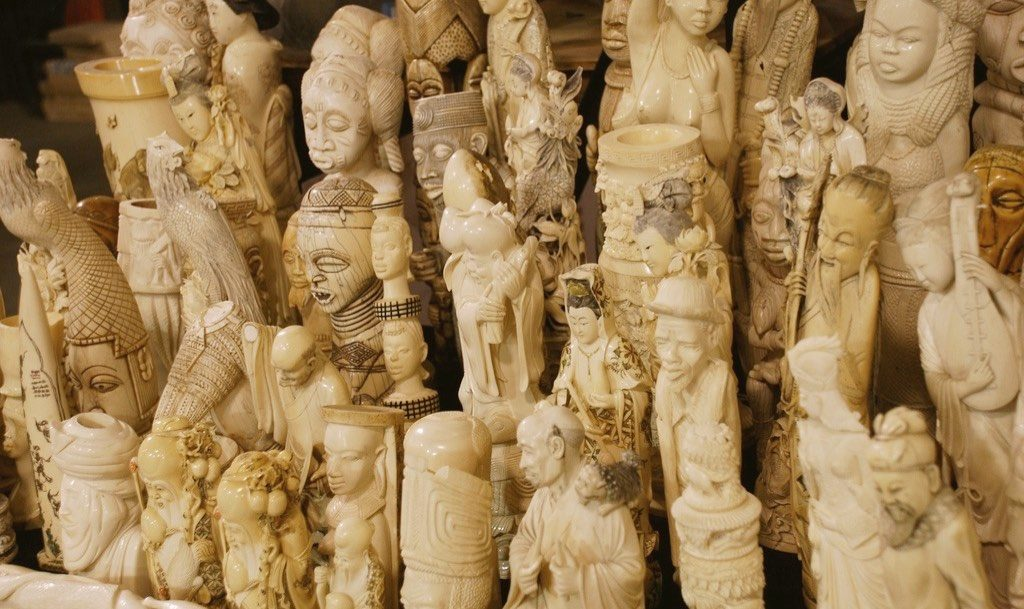 Rows of Ivory Statues Crafted from Elephant Tusks