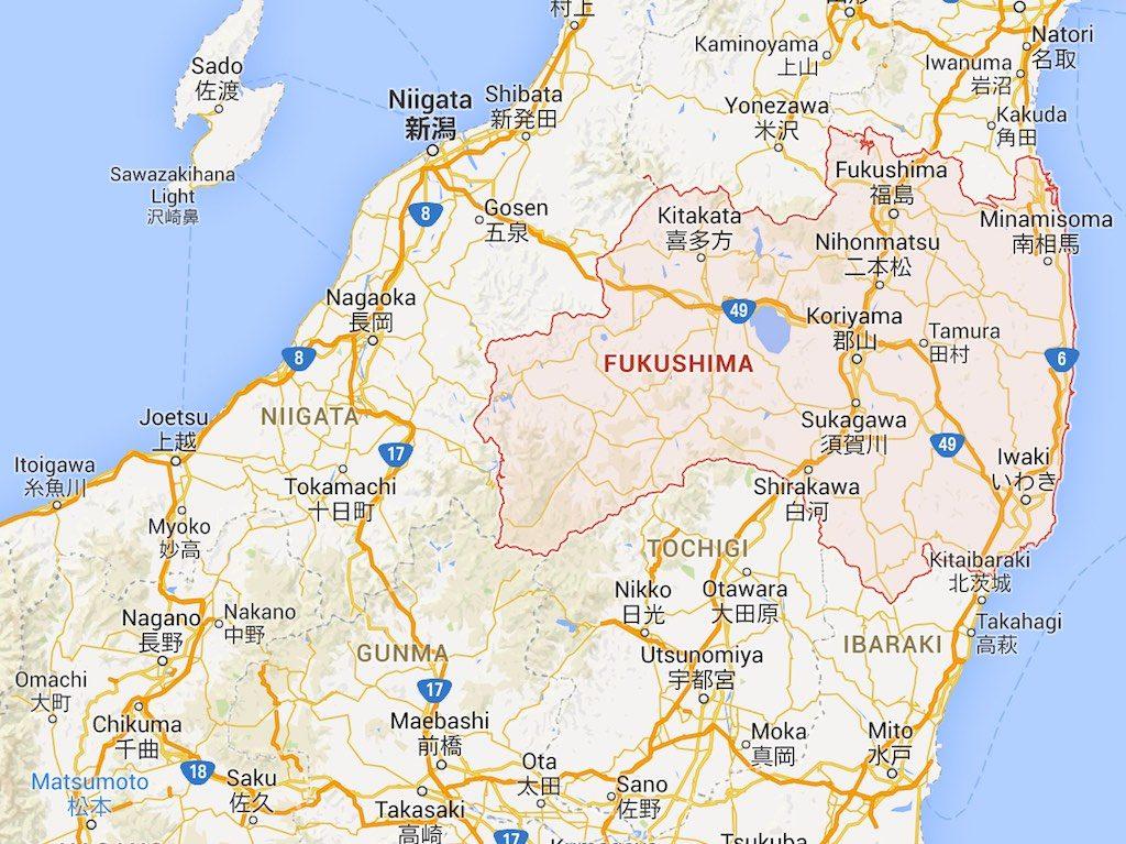 Geographic Region of Fukushima Prefecture, Japan
