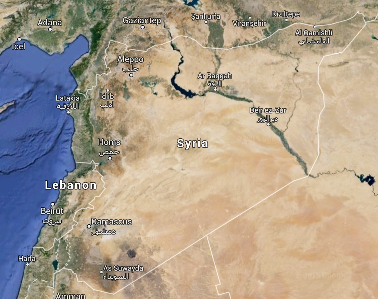 Google map of Syria