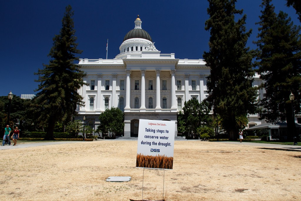 Dead lawn in front of California state house