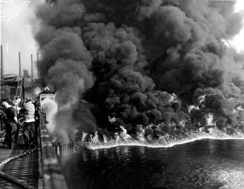 Flames Rising from Cuyahoga River