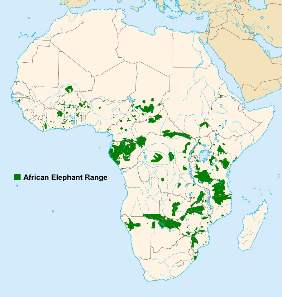 Africa Highlighting Elephant Home Ranges that are Declining