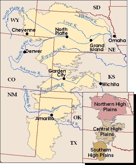 layout of high plains aquifer reaching across 8 states
