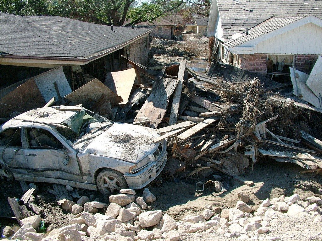 Extensive property damage caused by Hurricane Katrina