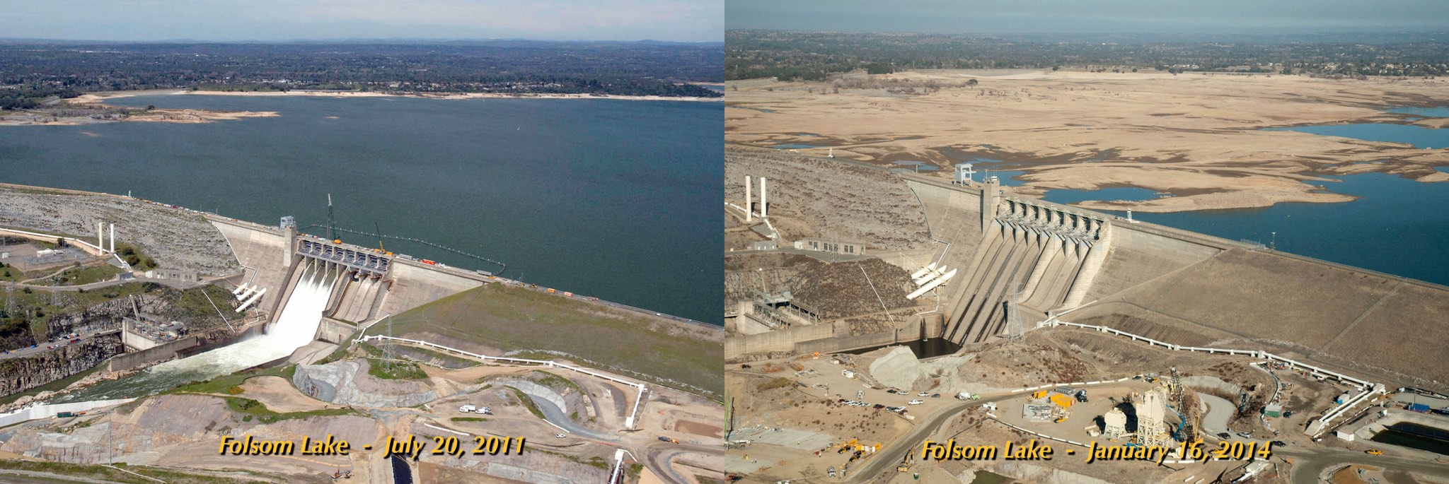 Folsom Lake during drought and non-drought conditions