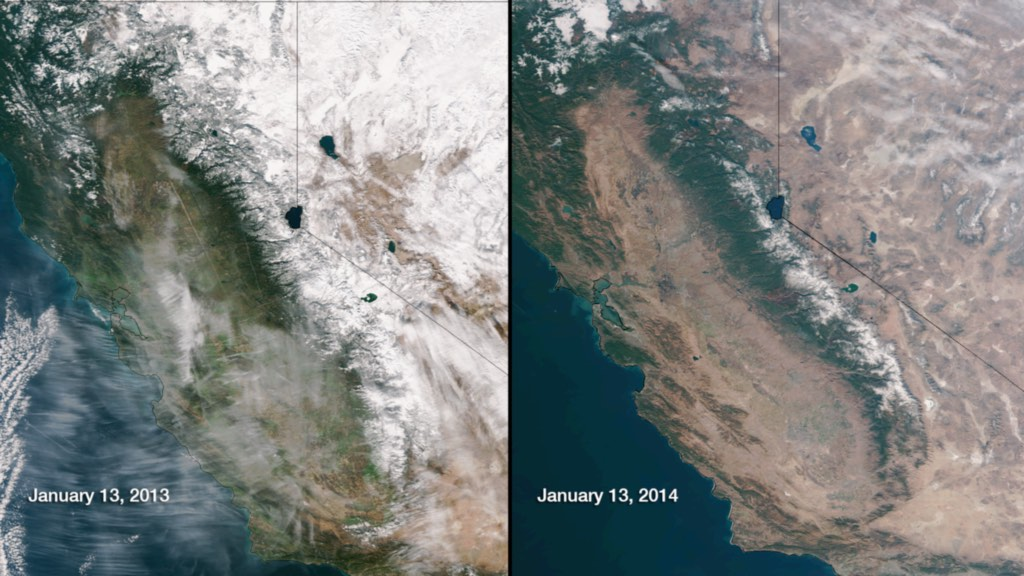 Sierra Nevada snowpack in 2013 and 2014