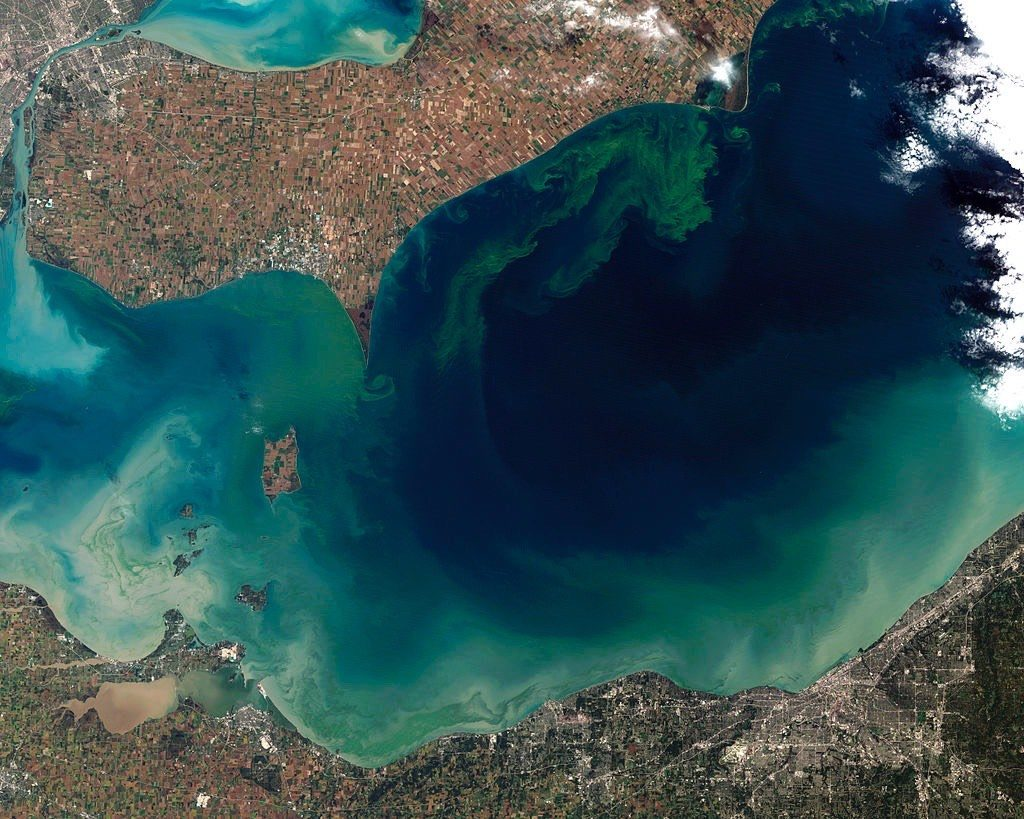 View of Algae Filled Lake Erie from Space