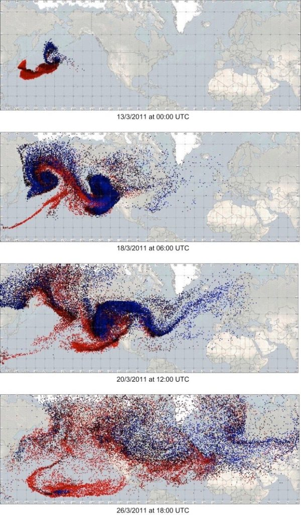 Colored Radionuclide Points Dispersed Across Globe at Multiple Time Intervals