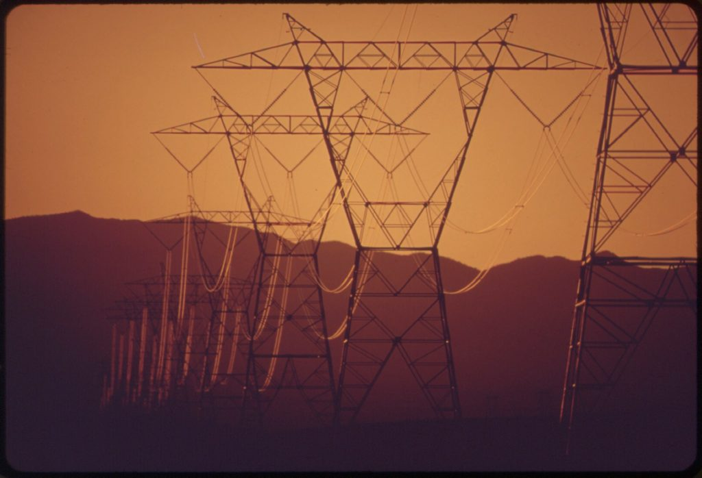 Power Lines Pass from Nearby Hoover Dam to Southern California