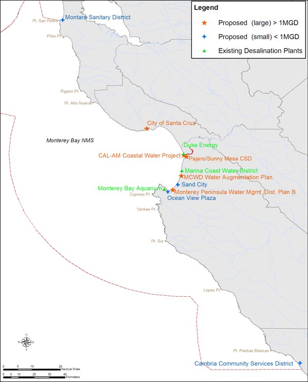 Map of Existing and Proposed Desalination Plants in Monterey Bay
