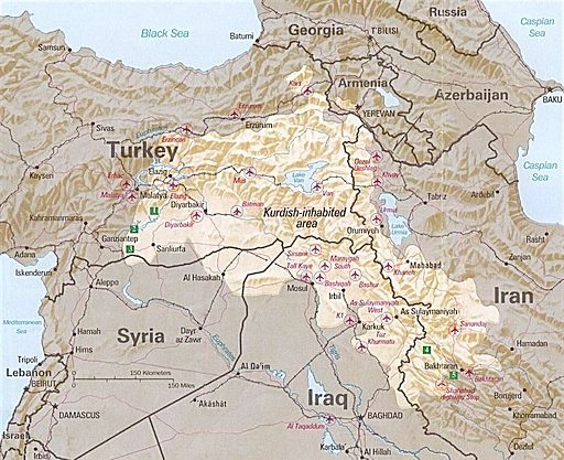"Map of Kurdish territory by English: ""The following maps were produced by the U.S. Central Intelligence Agency, unless otherwise indicated."" Public Domain. via Wikimedia Commons."