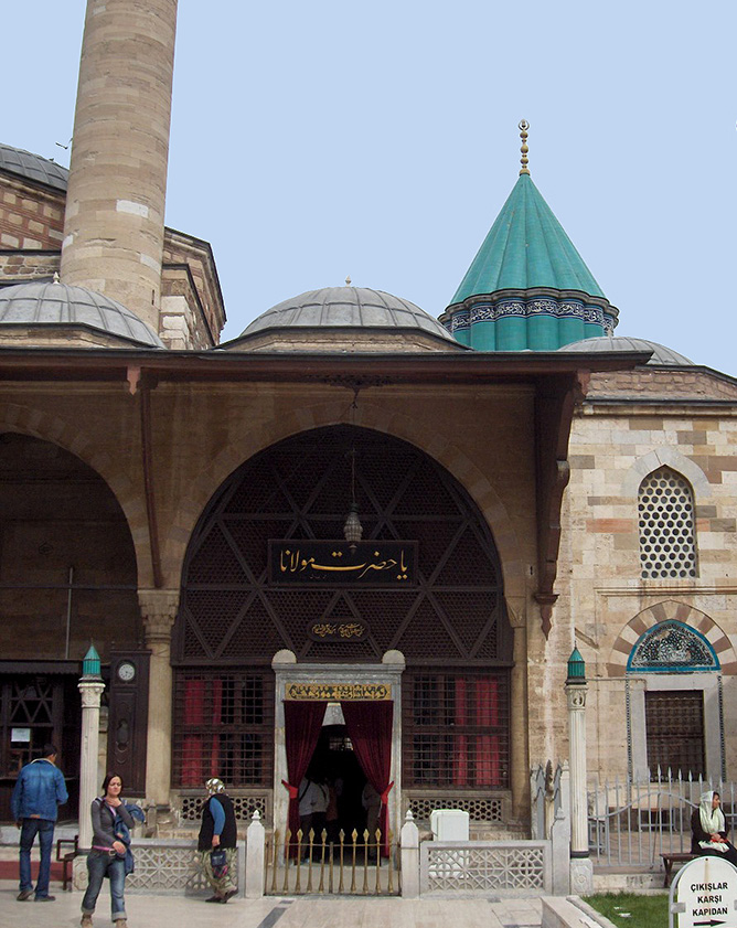Image of Entrance to Rumi's Mausoleum in Konya, Turkey.