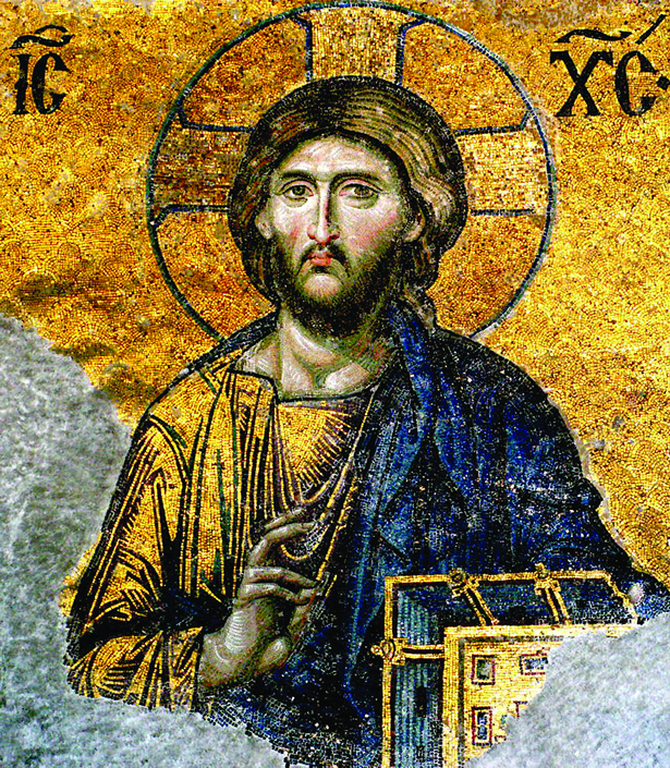 Image ofMosaic of Jesus Christ on one of the inner walls of the Hagia Sophia.