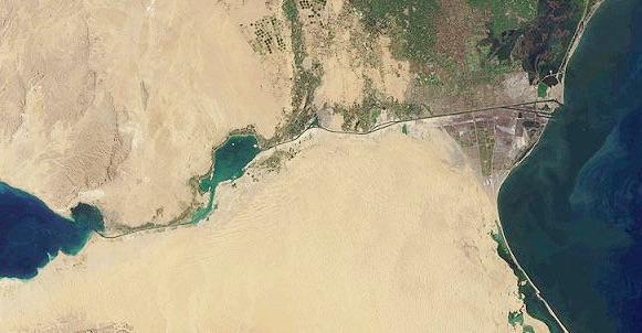 Aerial image of the Suez Canal, taken by MISR satellite on January 30, 2001.C.C.0