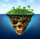an island viewed from the side, where the bottom of it is a skull.