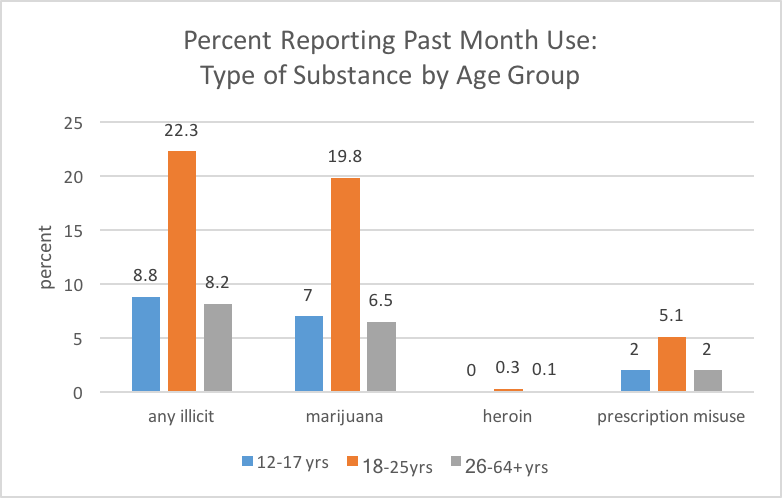 Patterns of past month illicit drug use by age group.