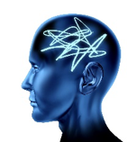 a human head with blue light tracing a random pattern in the head
