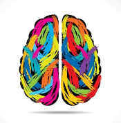 drawing of brain in the colors of the rainbow