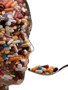 human head made of pills, eating a spoonful of more pills