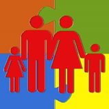 a girl, man, woman, and boy stick figures holding hands on a background of a 4-piece puzzle
