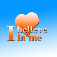 "logo saying ""I believe in me"" with a heart in background"