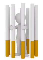 figure entrapped in a cigarette jail
