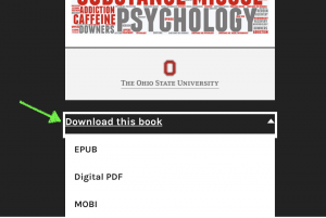 "screenshot of the ""Download this book"" link on the front cover of the pressbook"