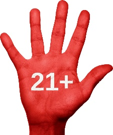 """hand with """"21+"""" on it"""