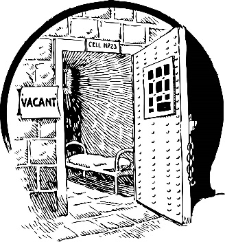 drawing of a vacant prison cell