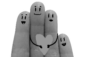 """smiley faces drawn on 4 fingers with a heart being """"held"""" by the family"""