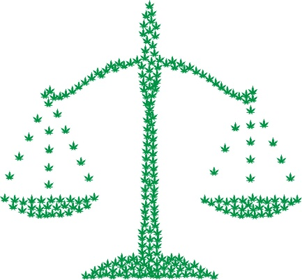 the scales of justice, formed out of marijuana leaves