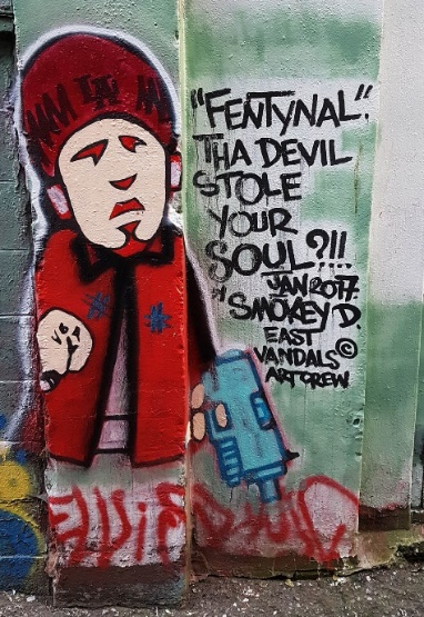 street graffiti about the dangers of Fentanyl