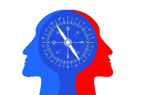 drawing of 2 human heads facing away from each other, with a compass overlaid on them