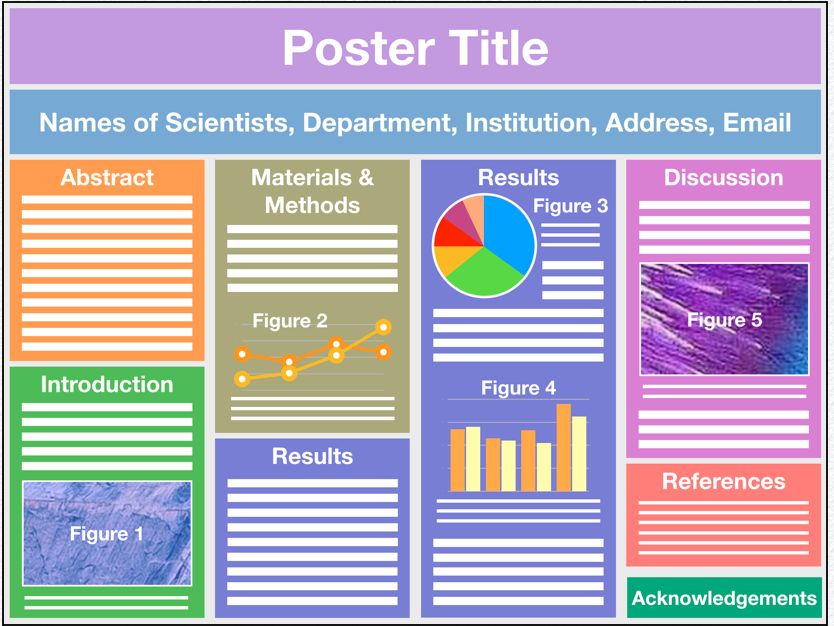 graphic of a scientific poster naming each of the parts