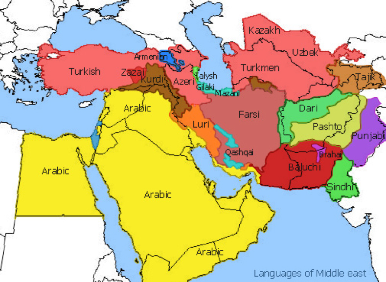 Map of Middle East According to Where Languages are Spoken