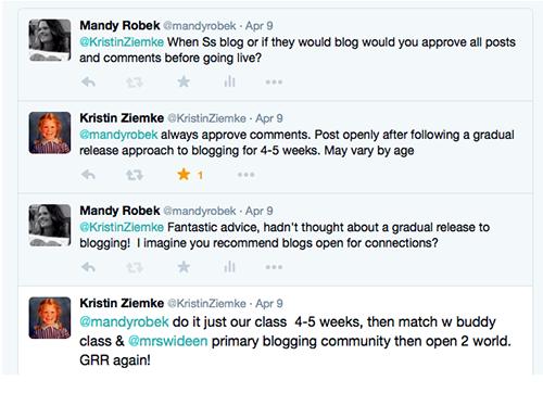 Screenshot of Twitter conversation between Mandy and Kristen Ziemke