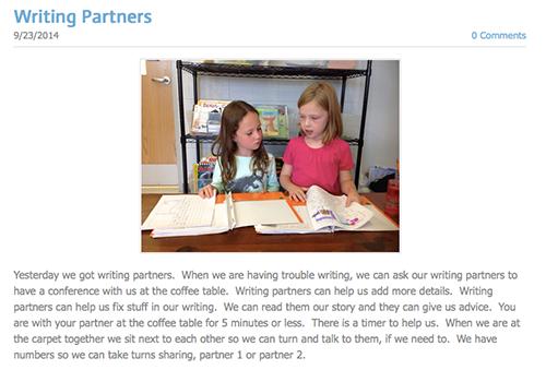 Screenshot of Writing Partners blog post