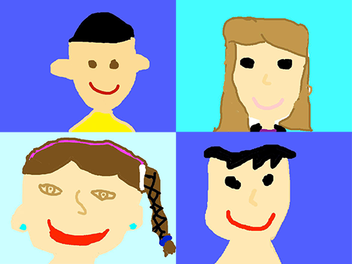 Student self-portraits created in Pixie app
