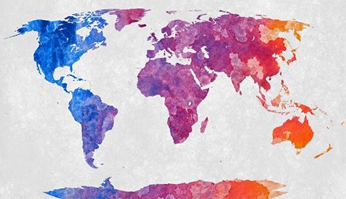 Stylized acrylic painting of world map