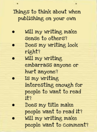 List of things for students to consider when publishing