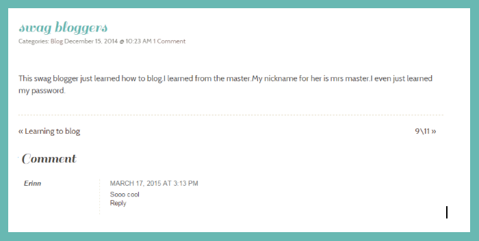 A comment on a student's blog