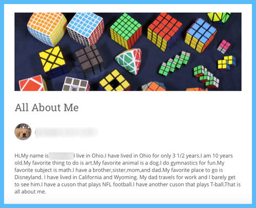 Image of student's biography page from her blog