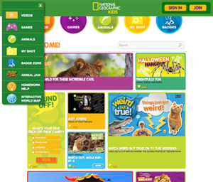 Screenshot of National Geographic for Kids website